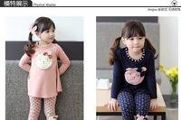 Free shipping 2014 Children's Sets Girls Lovely BEAR Long Sleeves top and cartoon Pants 2pcs Girls Suit Kids Spring Autumn Set