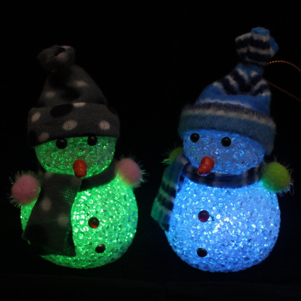 2PCS Crystal Snowman Color Changing LED Light Christmas Tree Ornament X'mas Pendant Decoration Gifts for Children(China (Mainland))
