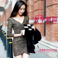 2014 winny Hitz sexy nightclub women Korean hip package long sleeved dress Zichao slim slim