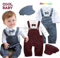 3Set Baby Boys Long Sleeve Crimson&Plaid Tie Rompers+Hat 2Pcs Set Infant Gentleman Christmas Suits Children One-Piece Clothing