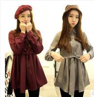 2014 super hot style slim waist long style warm women shirts M L size super FASHION shirts winter FREE SHIPPING GIFT