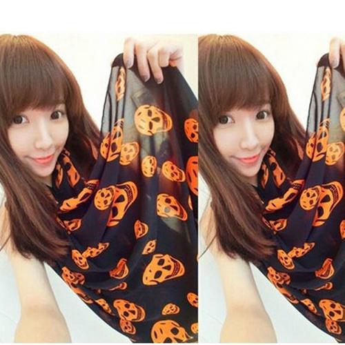 Orange Stylish Autumn Women's Pashmina Girls Velvet Chiffon Scarves Skull Print Scarf Wrap Shawl Scarves Stole Free Shipping(China (Mainland))