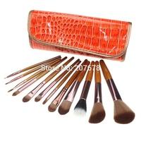 PRO 12 PCS Makeup Brushes Set With Brown Crocodile Pattern Case For Eyeshadow Blush Brush Makeup tools Free Shipping