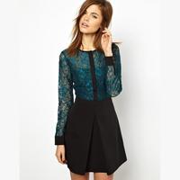 Free Shipping! malachite green double stereo sense lace through stitching vestido de festa dresses vestido informal clothing