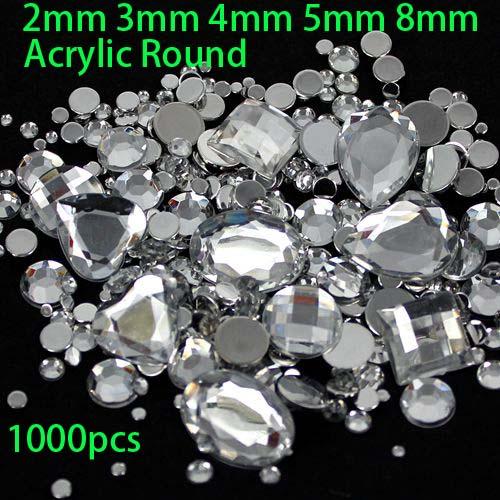 Mix Sizes 2 3 4 5 8mm 1000pcs Clear Round Acrylic Loose Rhinestone Nail Art Crystal Stones For Wedding Clothing Decorations(China (Mainland))