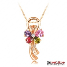 LZESHINE Brand Multicolor Flower Pendant & Necklaces 18K Gold Plated Wedding Jewelry Pendant Wholesale CNL0030-C