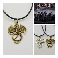 Wholesale 20pcs/lot Movie Hobbit 2 The Dragon Pendant Necklace For Men, 2 Colors Option