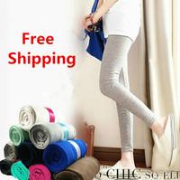 Free Shipping Autumn Winter Female Nine Points Leggings Pure Color Brushed Pants Show Thin Elegant Women's Trouser Pants 10031