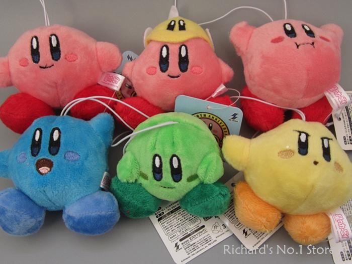 EMS 6 Styles 7cm 30sets(1set=6pcs) Super Mario Bros Kirby Plush Toys Stuffed Plush Doll Toys Animal Stuffed Toys(China (Mainland))