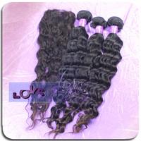 6A 3pcs Brazilian Loose Wave Virgin Hair Weft with Closure 4pcs/lot Size 4x4 Human Hair Closure, Big Wave Unprocessed Human Hair