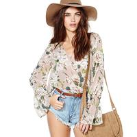 Women New Fashion Floral Pattern Chiffon Shirt Flare Sleeve Long Sleeve Deep V-Neck Loose Transparent Chiffon Tops Six Size D646
