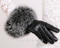 New Deluxe Women's Genuine Lambskin Leather Winter Gloves Fox Fur Wrist Black