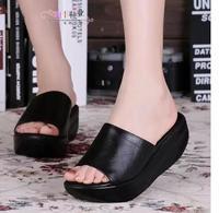 2015 genuine leather comfortable nuffin bottom women's summer slipper  female  leisure flip flops platform wedge swing sandals