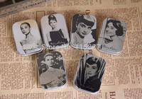Free Shipping! 24pcs/lot Mini Pill case Audrey Hepburn& Marilyn Monroe painting Tin Box  Metal Jewelry Case Storage Case