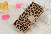 for iPhone 6 plus leather Flip Wallet stand leopard print design Case Cover for iPhone 6 5.5 inch free shipping