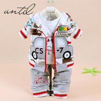 2014 Best retail selling children's Clothing Sets cotton coat+T-shirt+pants baby boy kids three piece suit sets T-820