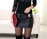 fall/winter 2014 new short skirt Women's Pu leather skirts saias femininas 2014 pencil skirt