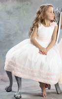 2014 White Ivory Ankle Length Flower Girl Dresses For Sale NEW A-Line Kids Long Organza Pageant Party Gowns Jar021