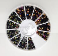 3 Sizes Rainbow Black Foil Beads Nail Art Acrylic UV Gel Tips DIY Wheel