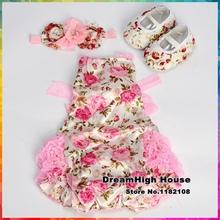 Newborn roupas de recem nascido menina Baby clothes Lace para Romper Flower dressed infant Shoes Rhinestone Headband Set #3T1074(China (Mainland))