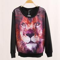 Free Shipping! Women Blasting long sleeve fleece 3 d the cool of lion printing moletom sweatshirt sport suit women brand