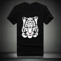 Men's black t-shirt the Korean version of men's shirts tiger head casual t-shirts