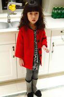 Fashion style red Warm 2-10 years kids children's  Buttons clothes girls winter coat  free shipping
