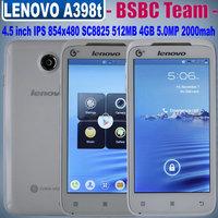 Original Lenovo A398T smartphone 4.5'' IPS Dual Core Dual Sim Android phone SC8825 512RAM 854x480 5MP 4GB ROM unlocked mobile