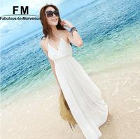 Maxi Dresses Vestido Praia White Bohemian Backless Cotton Beach Dress Vestidos Branco Women Summer Dress New 2015 SS15D051