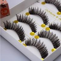 Free Shipping Japanese Natural Thick False Eyelashes/Artistic Human Hair Best Fake Eyelash Extensions Supplies Y-39/10 pairs1lot