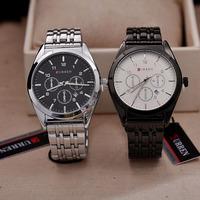 CURREN fashion trend classic men's watches Decorative False three circles calendar steel bracelet watch clock