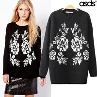 2014 autumn new European and American fashion super beautiful temperament was thin jacquard pullover WXY15706