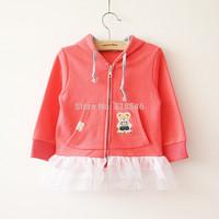 Free shipping 5pcs/lot Korean children hood SHIRT COTTON SPANDEX girl's coat