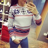 2014 Women Hoody Casual Sweatshirt Fashion Pullovers Snowflake Printed Hoodies Tops Moleton Feminine