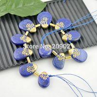 Drzuzy Gold Plated Edge , Lapis Lazuli Stone Drops Pendant Fit Necklace Finding - 11pcs