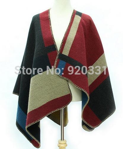 5ps/lot Fashion New Cheap Stylish Contrast Color Geometric Pattern Print Scarf/Shawl(China (Mainland))