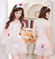 Free Shipping Female Sexy Lingerie Pajamas Nurse Uniform Temptation Nighty Role Play Sex Interest Hot Erotic Nightgown 22006