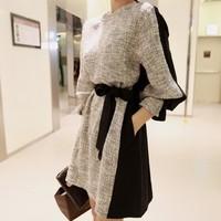 Europe new fashion Women's thick Autumn Winter casual dress, long sleeve plus size belt dresses women free shipping