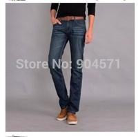 Fashion Men New 2014 Winter Cotton Fleece Thicken Denim Jeans Washed Zipper Casual Middle Waist Hot Pants Warm Trousers