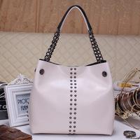 Free shipping 2014 new fashion rivet leather handbags exposure portable shoulder bag women handbag