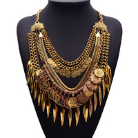 New Arrival 2014 Hot New Retro Ladies Fringed Bohemia Leaf Coins Necklace Collar Bone Long Tassel Necklace  9605