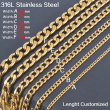 Free shipping men18K Gold 316L Stainless Steel 1:1 NK link chains necklaces jewelry fashion Christmas gifts lenght cutomized