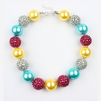 5pcs/lot Christmas Girl Chunky Beads Necklace Bubblegum Beads Necklace For DIY Jewelry Making Wholesale