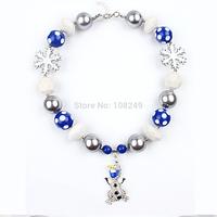 5pcs/lot Christmas Girl Kids Frozen Olaf Pendant Snowflake Chunky Beads Necklace Bubblegum Beads Necklace Jewelry Wholesale