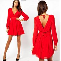 2015autumn casual dress women long sleeve v neck chiffon dresses maternity clothing for pregnant women sexy dresses