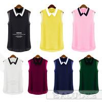 New Arrival Women Turn Down Collar Chiffon Shirt Summer Casual Sleeveless Blouse Tops camisa blusas femininas woman clothes