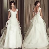 2014 Luxurious lace sexy V-neck slim princess bride plus size wedding dress A048#