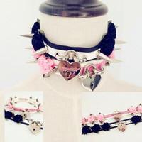 Collars 2014 Fashion NEW Harajuku Hot Dark Sweet heart LOCK & KEY Rivet Necklaces Faux leather Rock Collar Choker 100% handmade