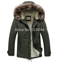 2014 New Men's Fur Long Winter Trench Coat Jacket warm Hooded Parka Overcoat