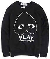 COMME DES GARCONS cdg play male and female lovers plus velvet long-sleeved sweater coat